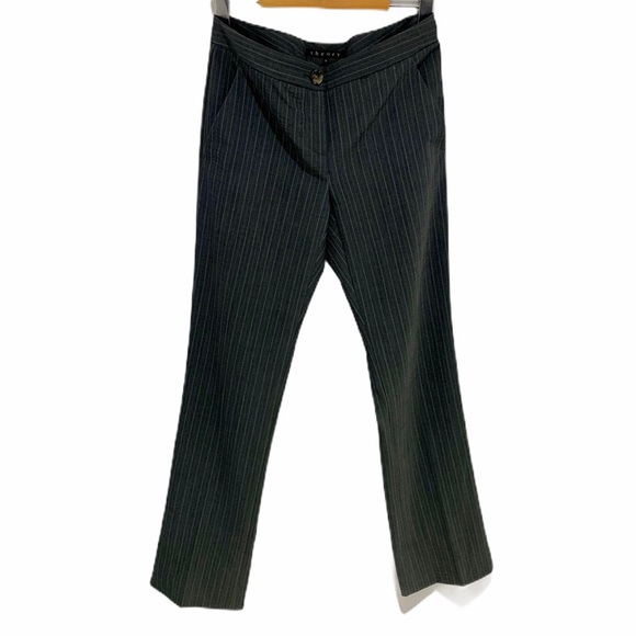 Theory | Wool Pinstripe Straight Leg Trousers